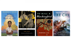 Collage of book covers: Roll of Thunder, Hear My Cry, Adventures of Huckleberry Finn, To Kill a Mockingbird, The Cay