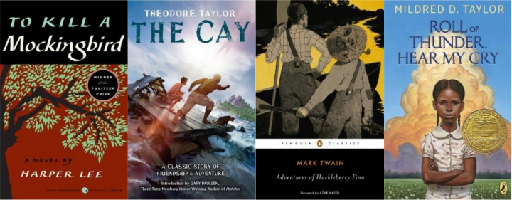 Collage of book covers: To Kill a Mockingbird, The Cay, Adventures of Huckleberry Finn, and Roll of Thunder, Hear My Cry