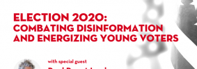 """Black-and-white image of American flag as backdrop; on top: """"Free Speech Live! A biweekly virtual forum for students. Election 2020: Combating Disinformation and Energizing Young Voters with special guest Paul Rogat Loeb"""" and Loeb's headshot"""
