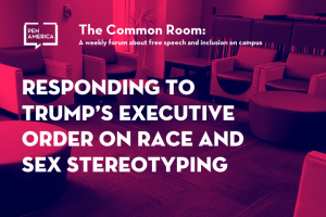 "Seats in a lounge with pink overlay as backdrop; on top: ""The Common Room: A weekly forum on free speech and inclusion on campus. Responding to Trump's Executive Order on Race and Sex Stereotyping"""