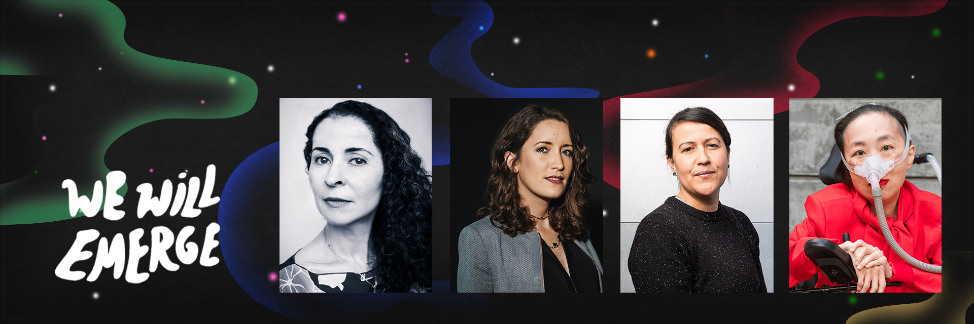 Colorful swirl effect overlaid on top of headshots of Laila Lalami, Jean Guerrero, Natalie Diaz, and Alice Wong (left to right) and next to the text