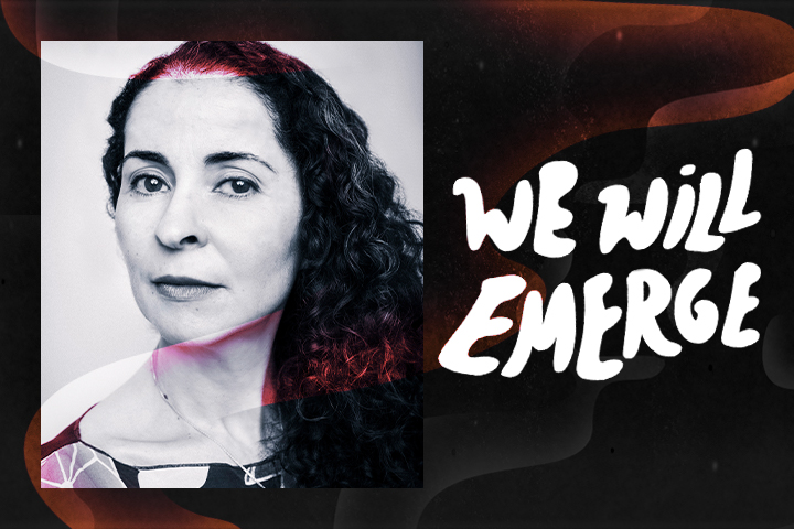 """Colorful swirl effect overlaid on top of framed headshot of Laila Lalami and next to the text """"We Will Emerge"""""""