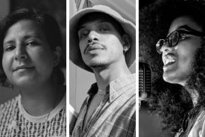 Headshots of Marwa Helal, Fransisco Gutierrez, and Ariana Brown