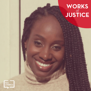 Works of Justice Podcast art with Ebony Underwood