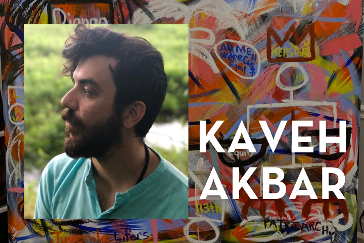 """""""Break Out"""" illustration in background; on top, Kaveh Akbar's headshot and name"""