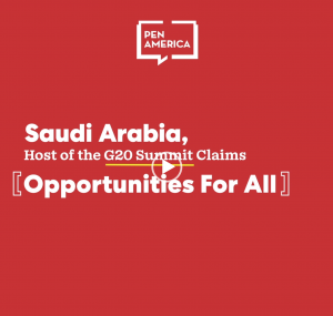 """Text overlayed on a red background that reads: """"Saudi Arabia, Host of the G20 Summit Claims Opportunities For All"""""""