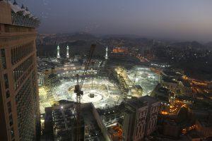 Skyline showing the Grand Mosque in Mecca, Saudi Arabia