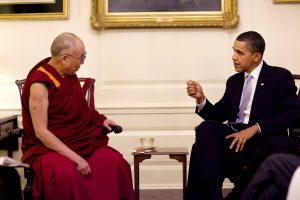 Barack Obama, on right, speaks with Dalai Lama on left