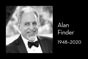 "Alan Finder's headshot on left; on right: ""Alan Finder, 1948–2020"""