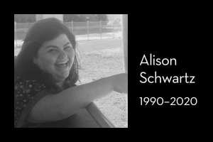 "Alison Schwartz's photo on left; on right: ""Alison Schwartz, 1990–2020"""