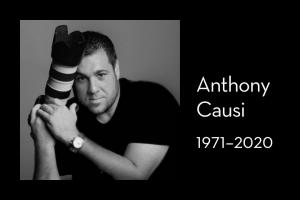 """Anthony Causi's headshot on left; on right: """"Anthony Causi, 1971–2020"""""""
