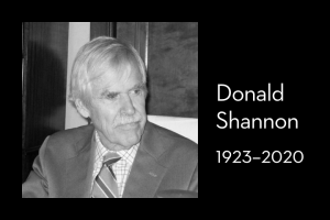 "Donald Shannon's headshot on left; on right: ""Donald Shannon, 1923–2020"""