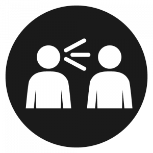 Icon of a person speaking at another person, enclosed in a circle