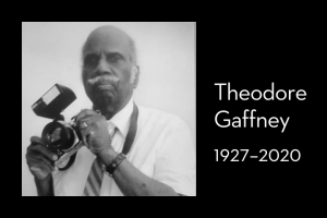 "Theodore Gaffney's headshot on left; on right: ""Theodore Gaffney, 1927–2020"""