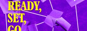 """Diagram of interconnected purple books on top of a darker purple background. Text on the left, in yellow, reads: """"Ready, Set, Go"""""""