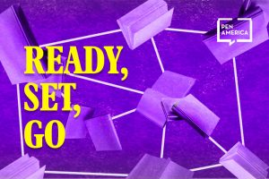 "Diagram of interconnected purple books on top of a darker purple background. Text on the left, in yellow, reads: ""Ready, Set, Go"""