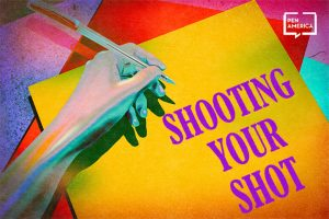 "Hand holding a pen over a yellow piece of paper. The piece of paper reads, in purple, ""Shooting Your Shot"""