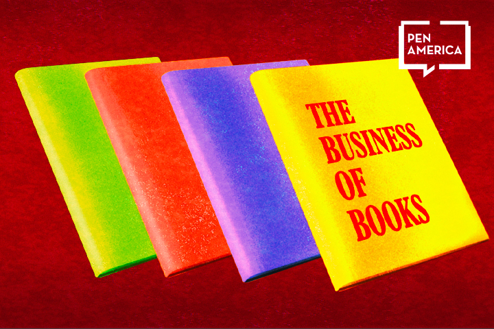"""Four horizontally lined up books (from left to right: light green, red, purple, and yellow) on top of a dark red background. The cover of the yellow book reads """"The Business of Books"""" in red"""