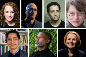 Headshots of Suzanne Nossel, Ayad Akhtar, Masha Gessen, Jill Lepore, Omar G. Encarnación, Charles Blow, and Peggy Noonan