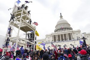 Scaffolding and demonstrators gathered at the Capitol