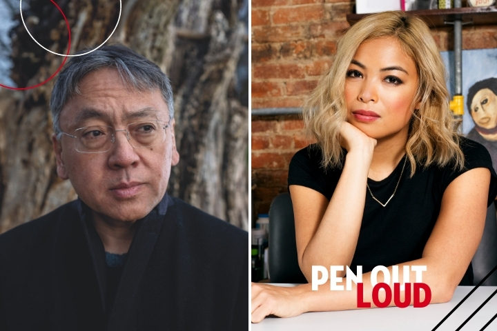 Kazuo Ishiguro and Jia Tolentino headshots, with PEN Out Loud logo on bottom right