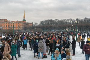 group of demonstrators gathered in saint petersburg
