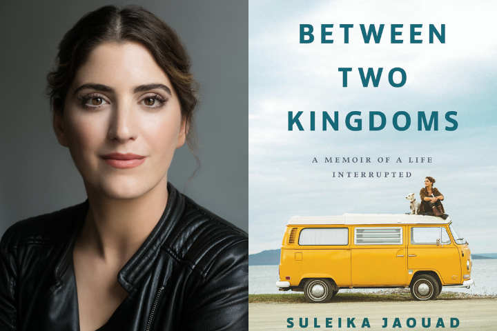 """Suleika Jaouad headshot and """"Between Two Kingdoms"""" book cover"""
