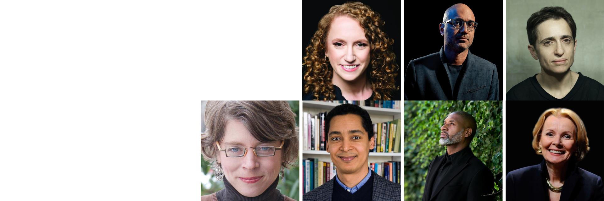 Headshots of Suzanne Nossel, Ayad Akhtar, Masha Gessen, Jill Lepore, Omar G. Encarnación, Charles Blow, and Peggy Noonan