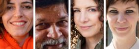 Headshots of Helena Nassif, Shahidul Alam, Karima Bennoune, and Natalia Koliada