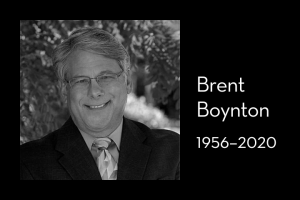 "Brent Boynton's headshot on left; on right: ""Brent Boynton, 1956–2020"""