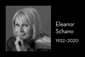 "Eleanor Schano's headshot on left; on right: ""Eleanor Schano, 1932–2020"""