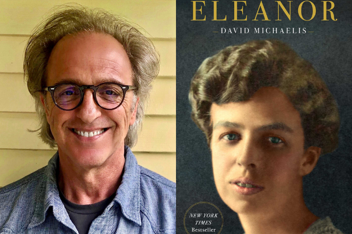 "David Michaelis headshot and ""Eleanor"" book cover"