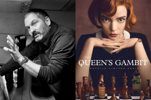 "Scott Frank photo and ""The Queen's Gambit"" poster"