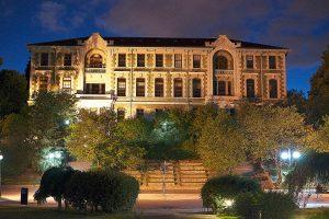 Bogazici University facade at night