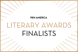 """PEN America Literary Awards Finalists"" in centered text; golden rays sticking out from each corner"