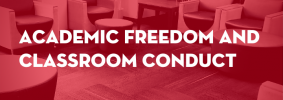 """Seats in a lounge with red overlay as backdrop; on top: """"The Common Room: Academic Freedom and Classroom Conduct"""""""