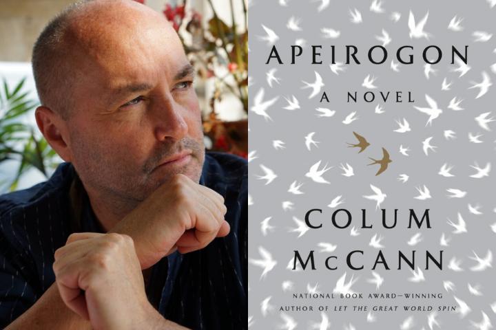 """Colum McCann headshot and """"Apeirogon"""" book cover"""