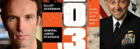 "Elliot Ackerman headshot, the book cover of ""2034,"" and Admiral James Stavridis headshot"