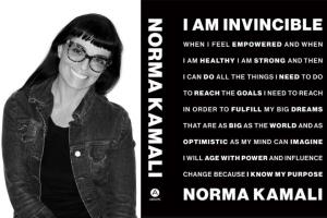 "Norma Kamali headshot and ""I am Invincible"" book cover"