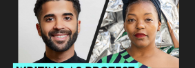 """Alejandro Heredia's and Mahogany L. Browne's headshots on black background and the words """"Writing as Protest"""" on teal text box"""
