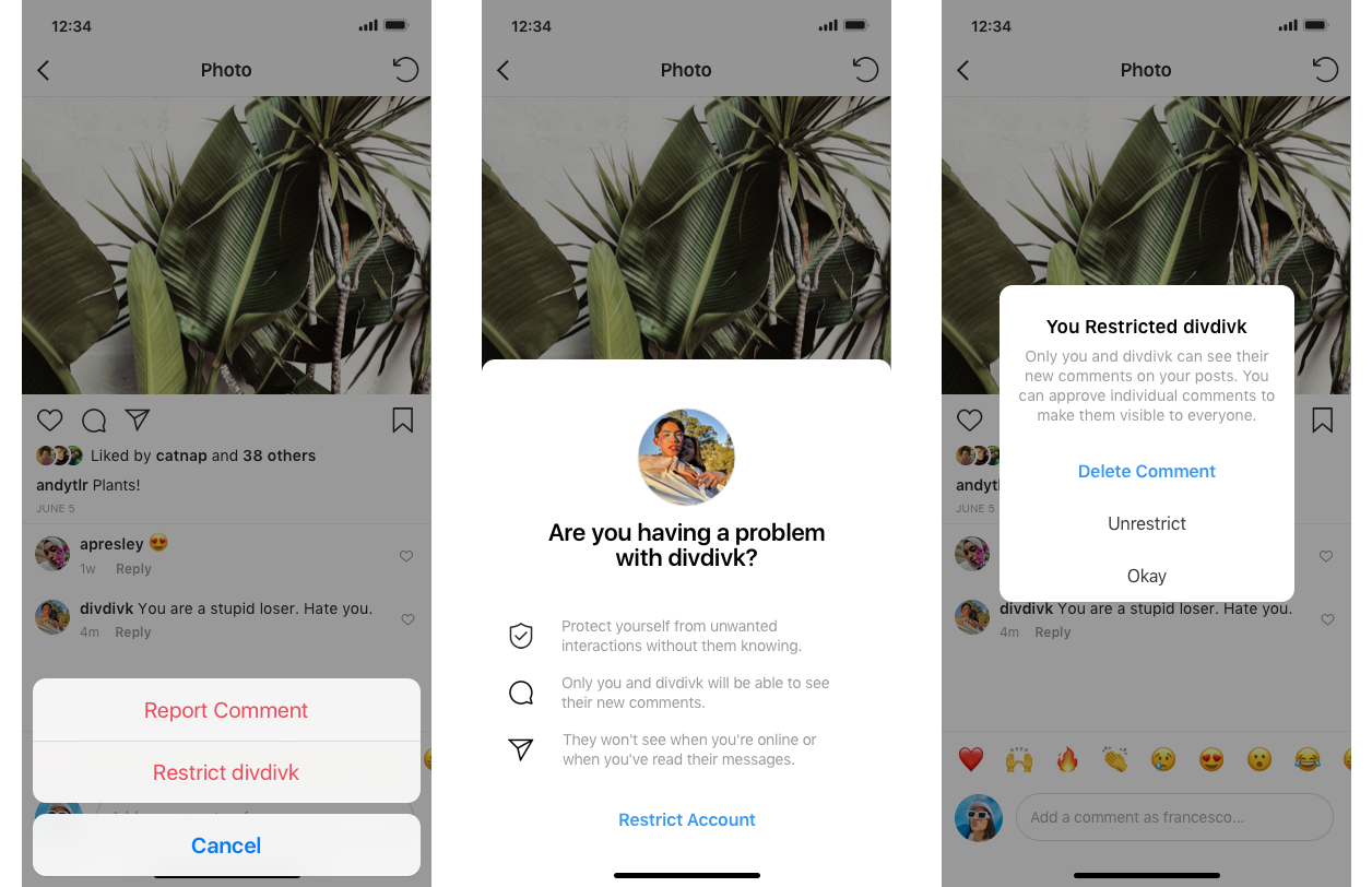 Screenshot demonstrating how to restrict an abusive account on Instagram.
