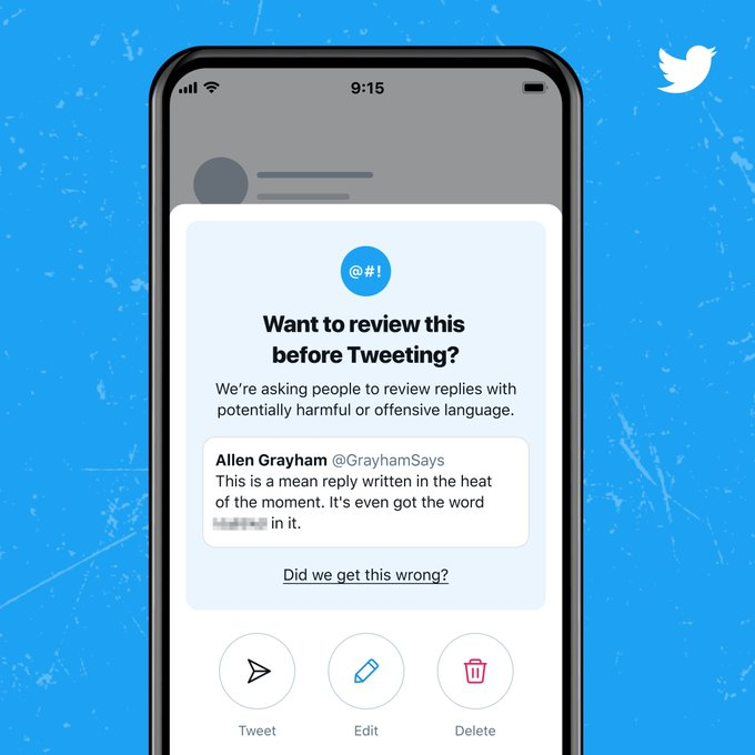 Screenshot of Twitter's experiments with nudges, which pop up to prompt users to reconsider the language of a potentially abusive post.