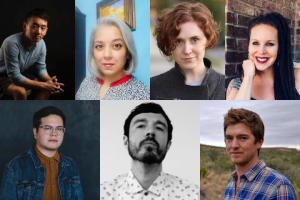 Grid with seven author headshots; from left to right, on top is Simon Han, Jenny Bhatt, A. Kendra Greene, Seraphina Nova Glass; on the bottom, from left to right, is Sebastian Hasani Paramo, Mike Soto, Matt Morton