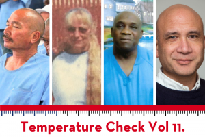 Temperature Check Vol. 11 graphic: photos of Eric William Warner, Angel Marie Kozeak, James Scott, and Dr. Bruce Western