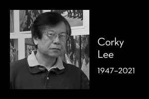 "Corky Lee's headshot on left; on right: ""Corky Lee, 1947–2021"""