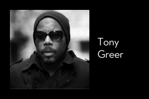"Tony Greer's headshot on left; on right: ""Tony Greer"""