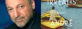 "André Aciman headshot and ""Homo Irrealis"" book cover"