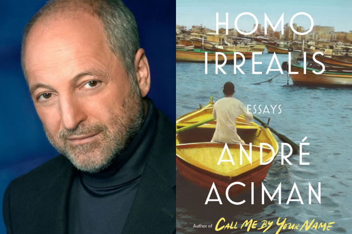"André Aciman headshot and ""Homo Irrealis"" book cover"