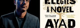 "Ayad Akhtar headshot and ""Homeland Elegies"" book cover"