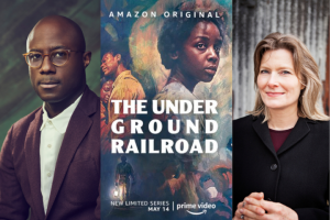 "Barry Jenkins headshot, ""The Underground Railroad"" tv series poster, and Jennifer Egan headshot"